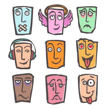 horny: Sketch emoticons face expressions and emotions colored icons set of happy horny tired man isolated illustration