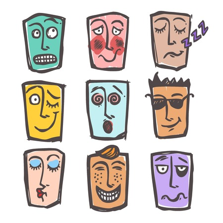 face expressions: Emoticons bosquejo de la cara expresiones y emociones de colores iconos conjunto de enfriar miedo riendo aislado hombre ilustraci�n
