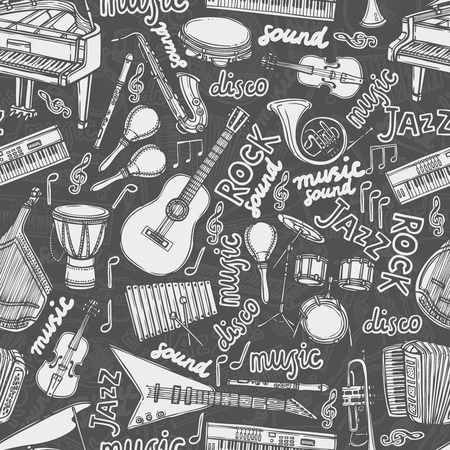 Musical instruments and music elements chalkboard seamless pattern illustration