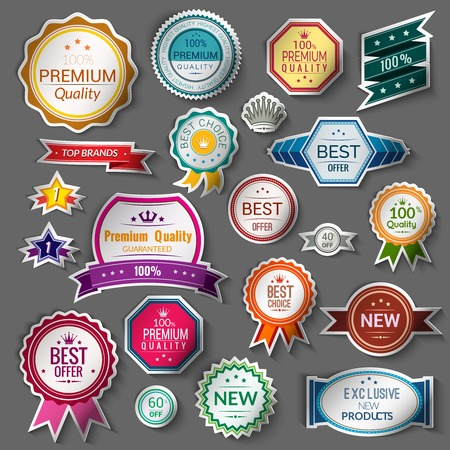 elements: Color sale premium quality best choice exclusive stickers set isolated illustration Illustration