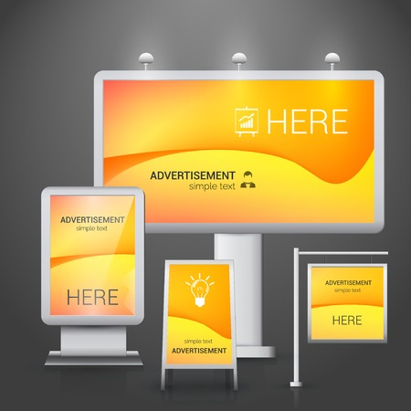 outdoor advertising: Orange outdoor advertising boards design template illustration