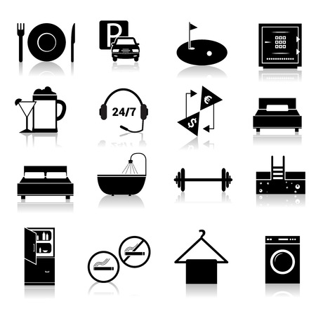 Hotel amenities and room service icons of alcohol fridge laundry and towel black set isolated illustration Vector
