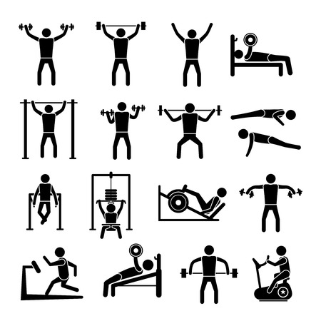 Workout sport and fitness gym training icons black set isolated illustration Vector