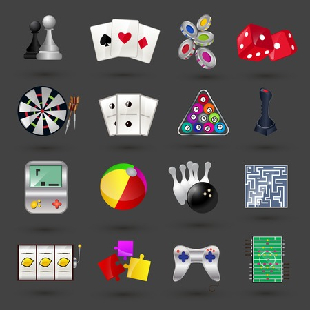 Game sport and gambling casino icons set isolated illustration Vector