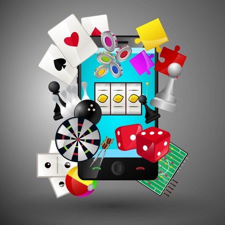 Leisure video sport and gambling casino games icons with mobile phone concept illustration Vector