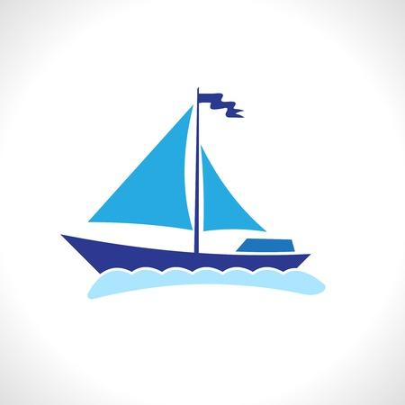 bateau de course: voile de navire yacht silhouette isolé sur fond blanc illustration