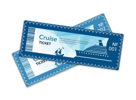 ships at sea: Ship cruise tickets set isolated on white background illustration