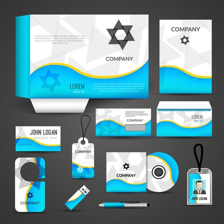 stationary set: Blue paper business style stationery layout template corporate design set isolated illustration