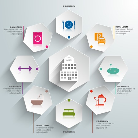 Hotel amenities and room service tourism paper infographic illustration 일러스트