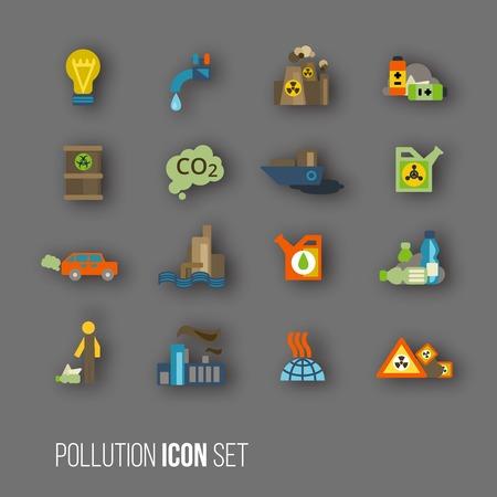 spillage: De di�xido de carbono radiactivo y desechos t�xicos de actividad humana iconos de contaminaci�n de aire y agua de desechos conjunto aislado ilustraci�n Vectores