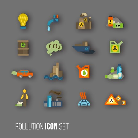 spillage: Radioactive and carbon dioxide toxic waste human activity waste air water pollution icons set isolated illustration Illustration