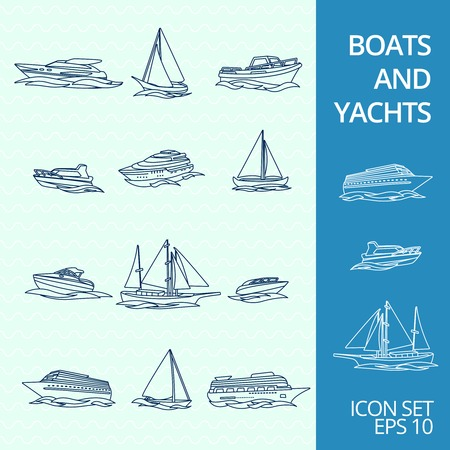 Ocean recreation cruise motor boats and sportive competitive sailing yachts outline sketch icons set isolated illustration Zdjęcie Seryjne - 31210955