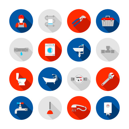 Plumbing service shower bathtub  and sink drain installation tools icons set abstract solid isolated illustration Vettoriali