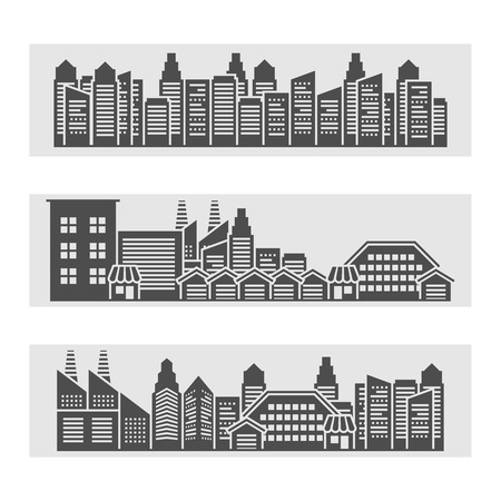 edifice: Decorative horizontal banners of modern city residential area cityscape and downtown edifice skyline  black abstract illustration Illustration