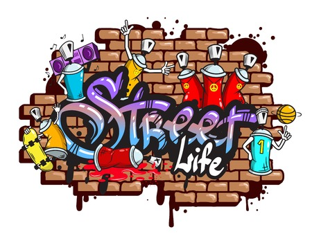 sprays: Decorative urban world youth street life graffiti art spraycan characters and drippy blotchy letters composition illustration