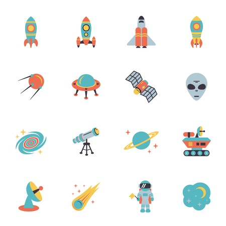 Space icons set of rocket ufo galaxy and planet illustration