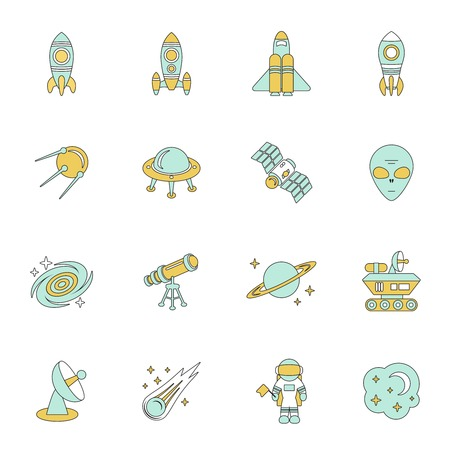 space station: Space line icons set of moon star planet and space station illustration Illustration
