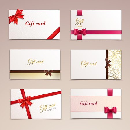 decorative card symbols: Gift cardboard paper cards set with red bows and ribbons illustration Illustration