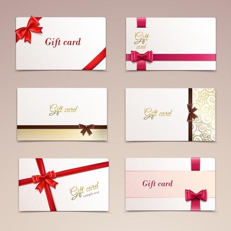 Tarjetas de papel cartón regalo fija con arcos y las cintas rojas ilustración Foto de archivo - 31210970