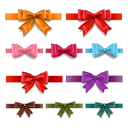 Decorative gift ribbons and bows colored collection isolated illustration Ilustrace