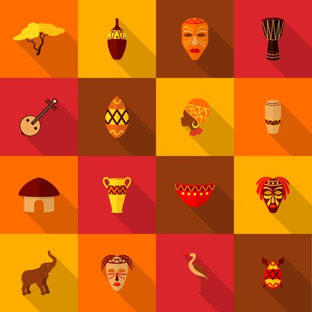 Africa jungle ethnic tribe culture travel icons set flat isolated illustration 向量圖像