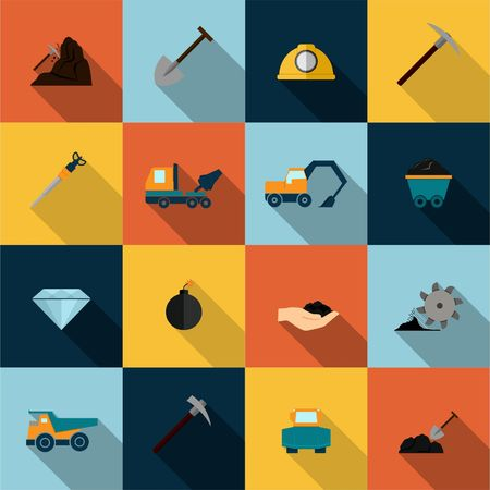 fire pit: Underground mining mineral industry flat icons set isolated illustration Illustration