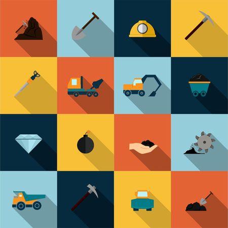 gold mining: Underground mining mineral industry flat icons set isolated illustration Illustration