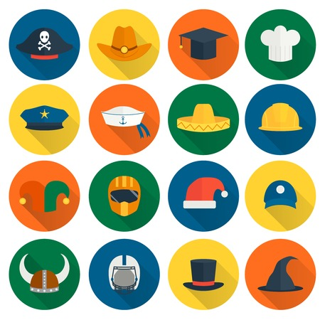 hat graduate: Modern and old caps flat icons set with policeman builder chef hats isolated illustration