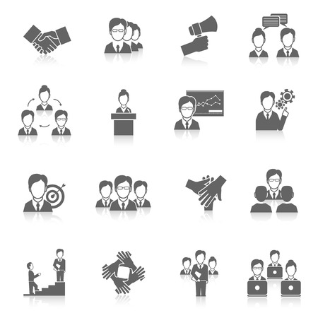 resources management: Teamwork corporate organization business strategy black icons set isolated illustration