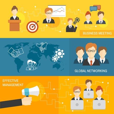 global networking: Reuniones de negocios trabajo en equipo de redes mundial banners gesti�n eficaz conjunto aislado ilustraci�n