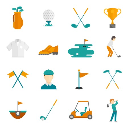 golf cart: Golf game equipment and player flat icons set isolated illustration