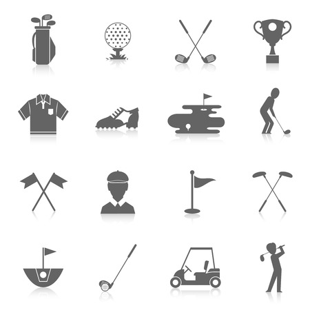 golf bag: Golf game sport and activity black icons set isolated illustration