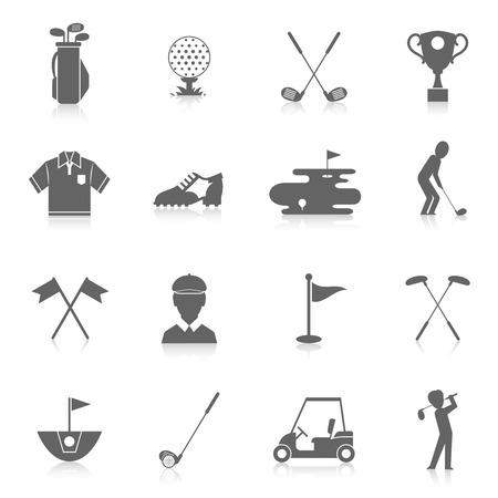 Golfspel sport en activiteit zwarte pictogrammen set geïsoleerd illustratie