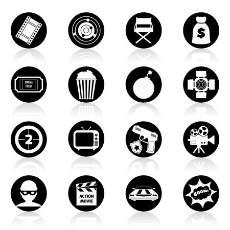 Action film movie cinematography production black and white icons set isolated illustration Vector