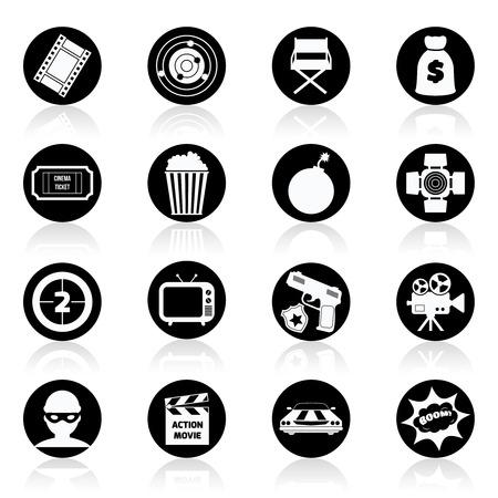 tvset: Action film movie cinematography production black and white icons set isolated illustration Illustration