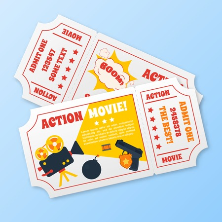 action movie: Action movie film cinema professional production tickets set illustration Illustration
