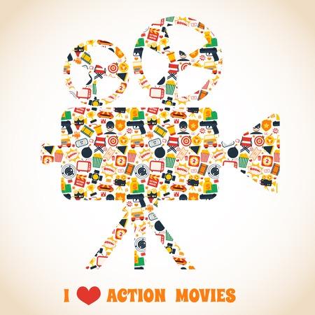 tvset: Action movie premiere cinema professional production camera concept illustration