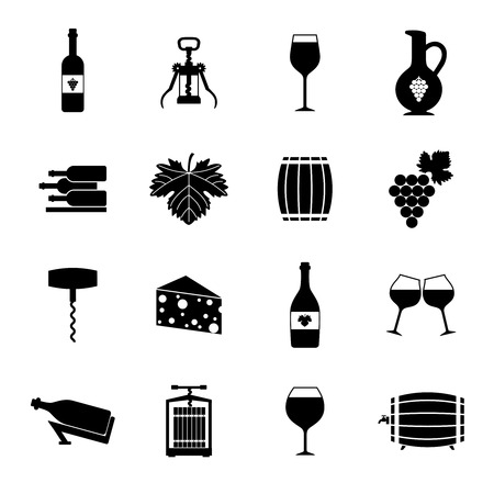 grapes wine: Wine alcohol drink black icons set isolated illustration Illustration