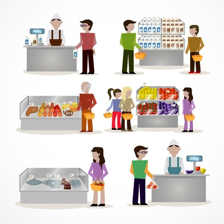 checkout: People in supermarket grocery store with shopping baskets isolated illustration Illustration