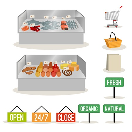fish shop: Supermarket meat and fish set and shopping signs isolated illustration Illustration