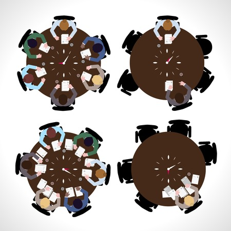 workday: Business people workday on table top view isolated illustration