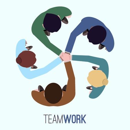 bovenaanzicht mens: Business team teamwork concept bovenaanzicht mensen illustratie Stock Illustratie