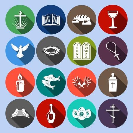 christian fish: Cristianismo s�mbolos religiosos tradicionales iconos planos establecen con la cruz, ilustraci�n, copa biblia
