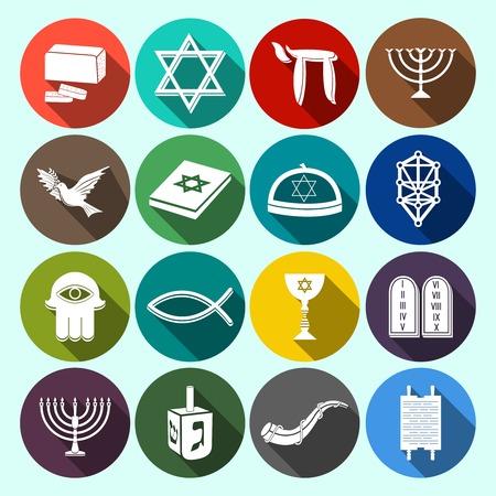 shofar: Chiesa ebraica simboli religiosi tradizionali icone piane impostate con la torah stella di david dreidel isolato illustrazione Vettoriali