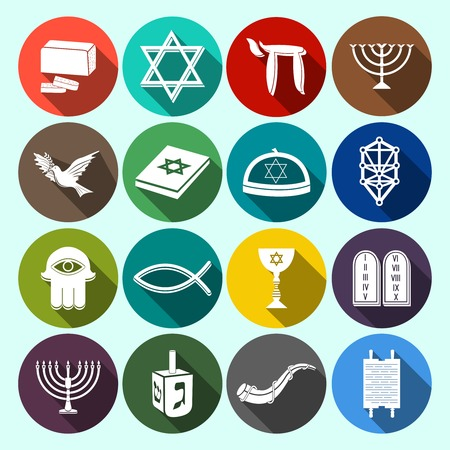 Jewish church traditional religious symbols flat icons set with torah david star dreidel isolated illustration Vector