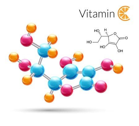 Vitamin C 3d molecule chemical science atomic structure poster illustration. Vectores