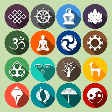 ayurveda: Buddhism yoga oriental traditional spiritual indian symbols icons flat set isolated illustration
