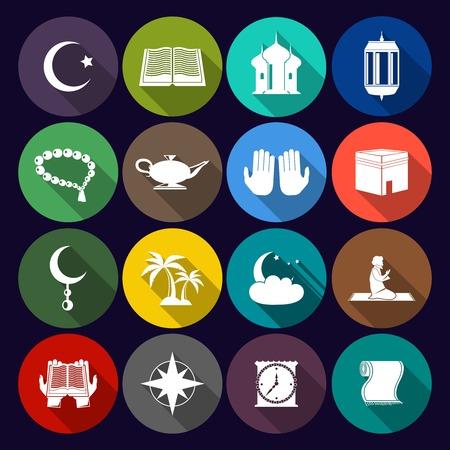 masjid: Islamic church muslim arabic spiritual traditional symbols flat icons set isolated illustration