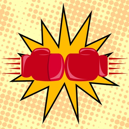 Boxer gloves hitting cartoon fight poster illustration Vector