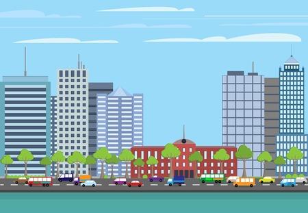 clouds scape: Modern urban building on street cityscape skyline illustration Illustration